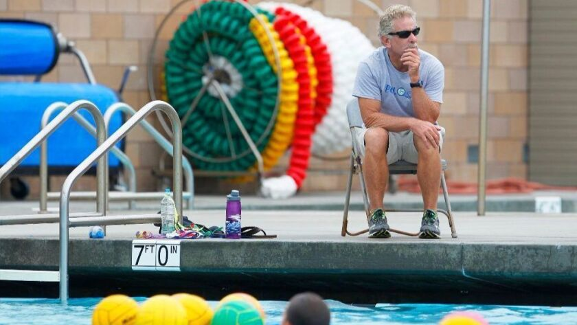Former Coronado High School water polo coach Randy Burgess watches a practice on Sept. 19, 2016. Burgess ran the program for 33 years.