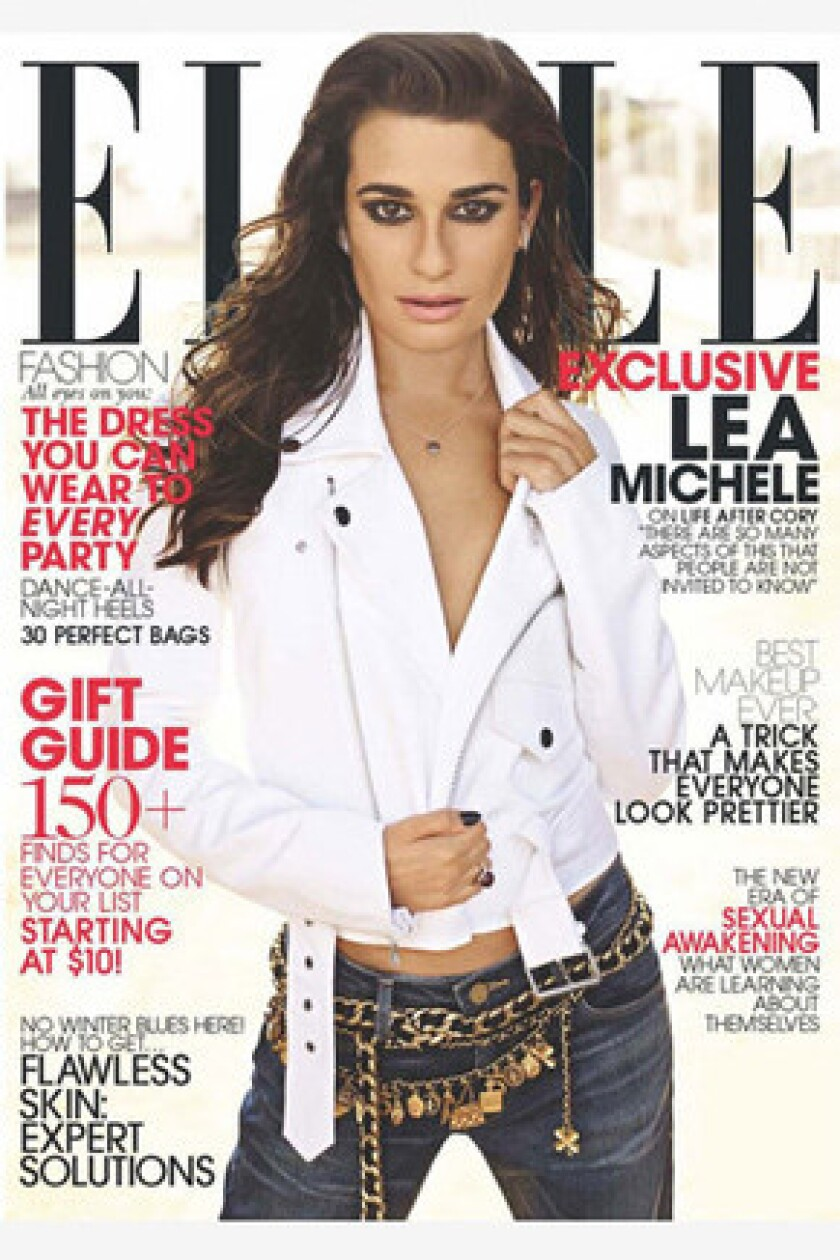 """Lea Michele of """"Glee"""" opens up about late boyfriend Cory Monteith's death in the November 2013 issue of Elle magazine."""