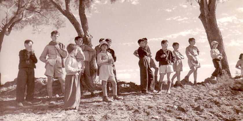 """Children from Kibbutz Hulda, 1948, as seen in """"Inventing Our Life: The Kibbutz Experience,"""" a film by Toby Perl Freilich."""