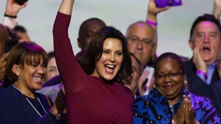 Democrat Gretchen Whitmer declares victory in Michigan gubernatorial election, Detroit, USA - 06 Nov 2018