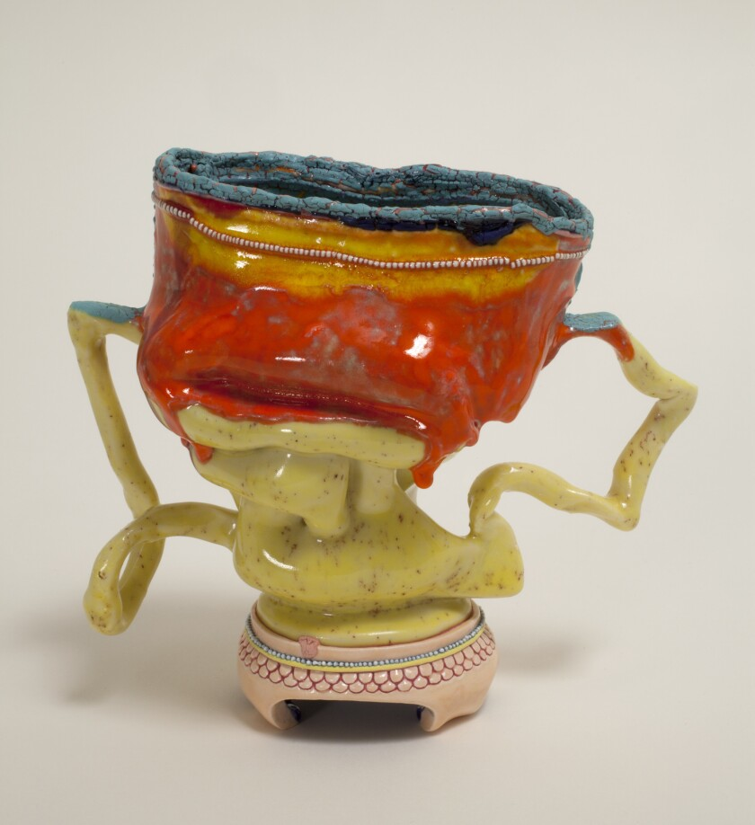 """Kathy Butterly's """"Cool Spot,"""" 2012, clay and glaze, 5 x 5-1/2 x 3 inches."""