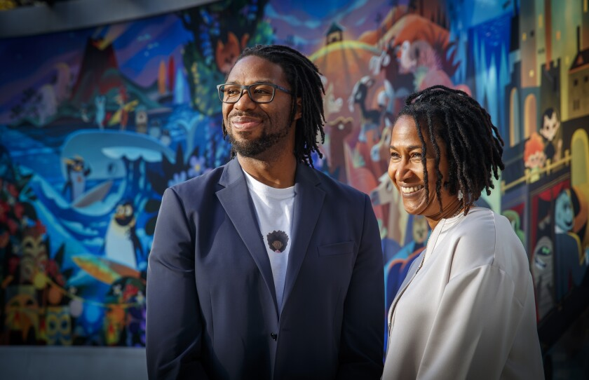 "Director/producer Matthew A. Cherry, left, and producer Karen Rupert Toliver, the filmmakers behind the Oscar-nominated animated short film ""Hair Love"" at Sony Pictures in Culver City."