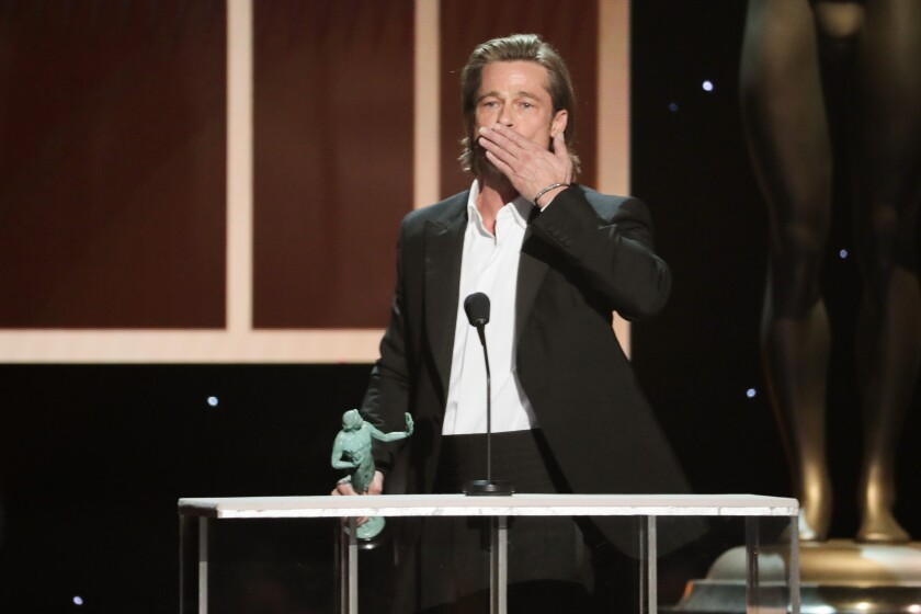 Brad Pitt blows a kiss to the audience at the SAG Awards earlier this month.