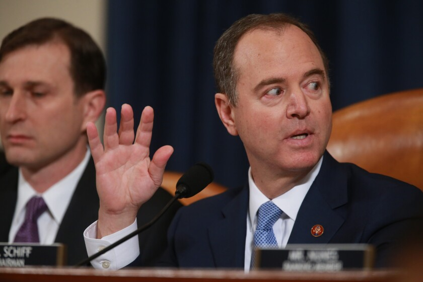 House Intelligence Committee Chairman Adam B. Schiff (D-Burbank) during the second public impeachment hearing.