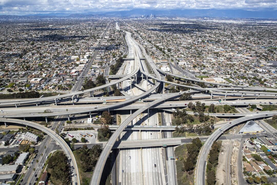 An empty 110 and 105 freeway interchange.