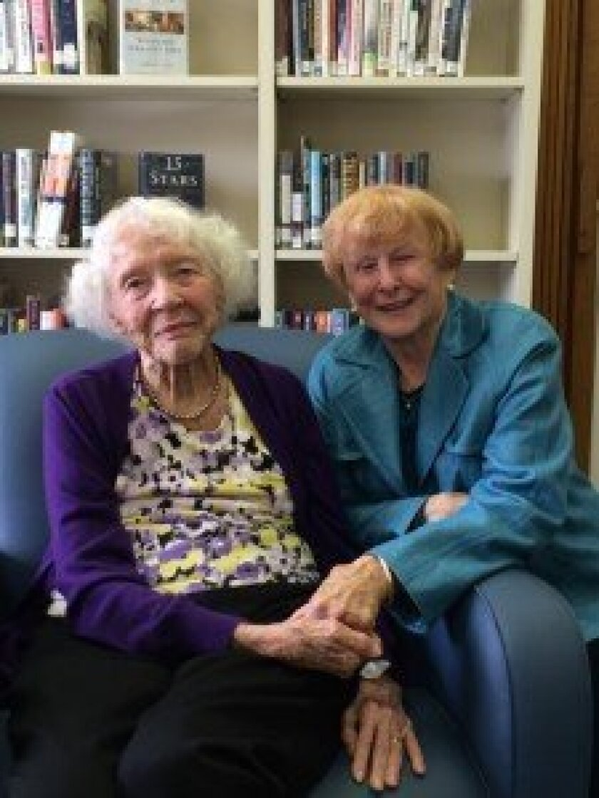 The Rancho Santa Fe Library's first librarian Fran Johnson with Nancy Miller, a longtime RSF Library Guild member. Photo/Karen Billing