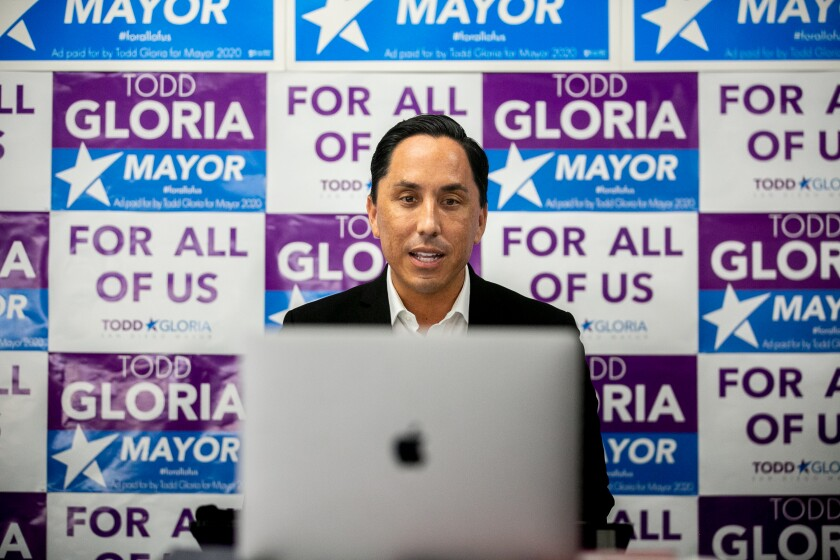 Assemblyman Todd Gloria talks about the Ash Street deal from his campaign headquarters