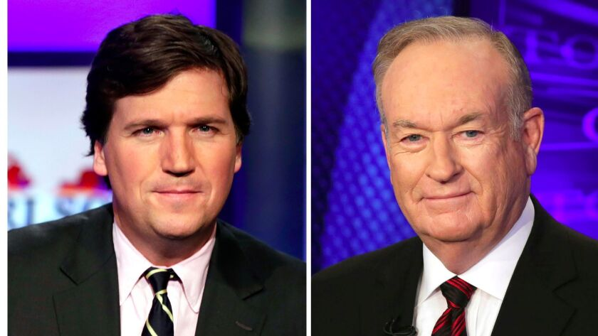 """Tucker Carlson, left, host of """"Tucker Carlson Tonight,"""" appears on the set in New York on March 2, and Fox News personality Bill O'Reilly appears on his show """"The O'Reilly Factor"""" on Oct. 1, 2015."""