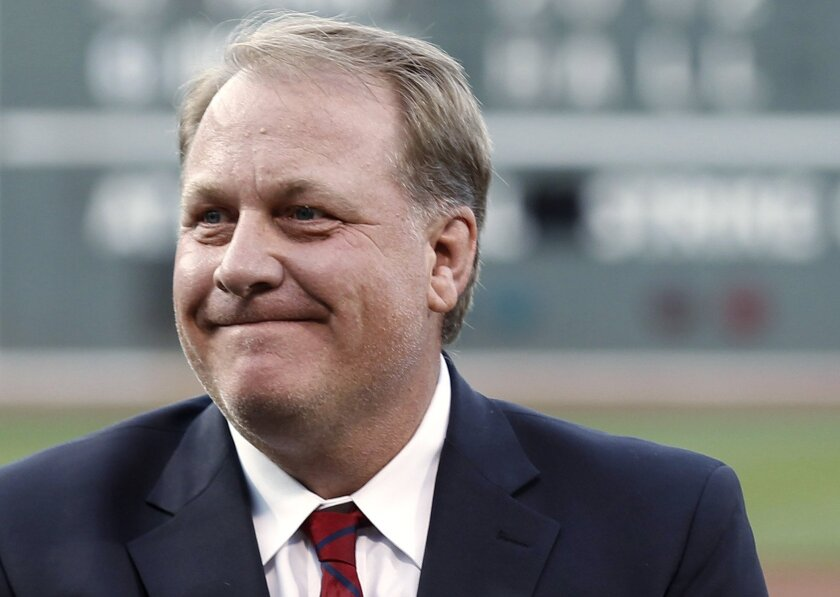 Curt Schilling is introduced as a new member of the Boston Red Sox Hall of Fame on Aug. 6, 2012.
