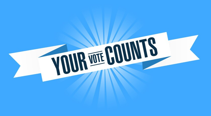 your vote counts, blue ribbon Illustration Design graphic. Vintage ribbon. banner illustration desig