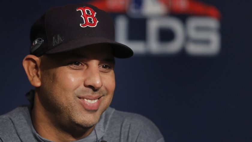 Boston Red Sox manager Alex Cora answers questions during a news conference on Oct. 7, 2018, in New York.