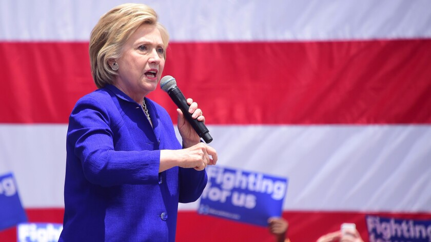 Hillary Clinton campaigns Monday in Lynwood.