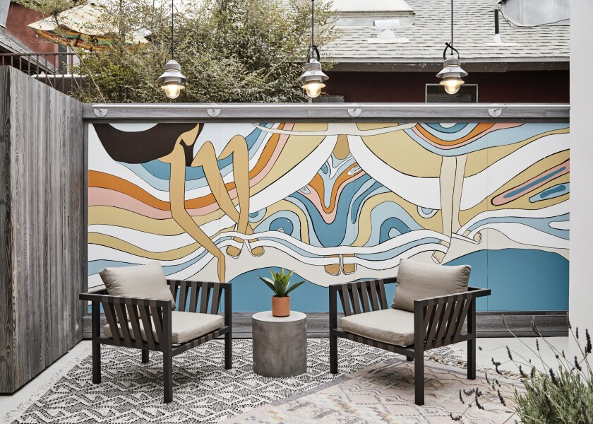 An Andy Davis mural in the courtyard of Birkenstock's new Venice store