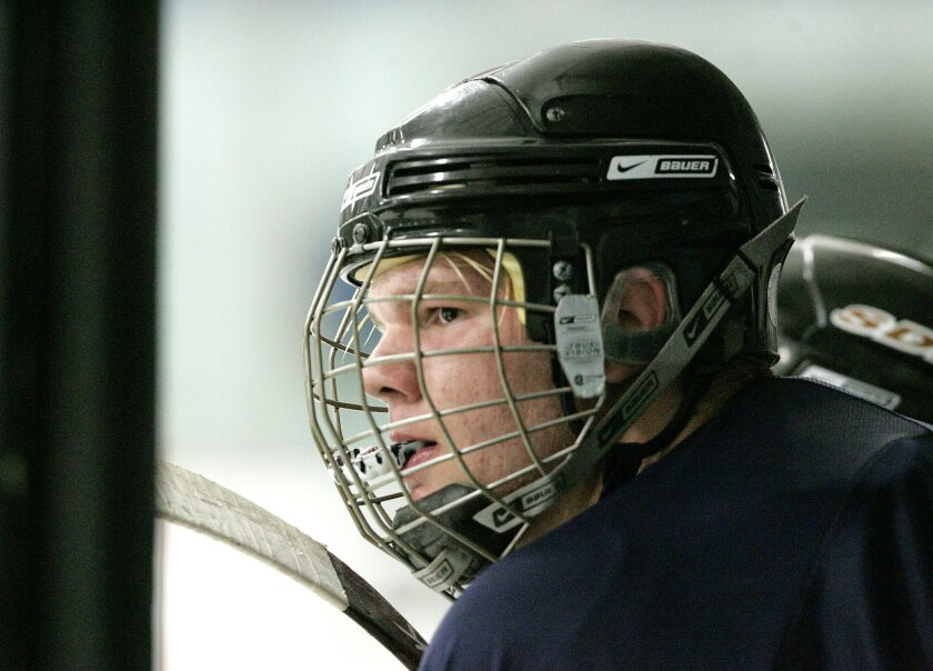 Joey Fishell said his weight loss made it possible for him to make a tournament hockey team. Joey, 14, has lost 53 pounds since his weight-loss surgery in July 2008. (Earnie Grafton / Union-Tribune)