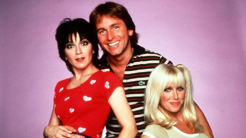 "John Ritter with Joyce DeWitt, left, and Suzanne Somers in ""Three's Company."""