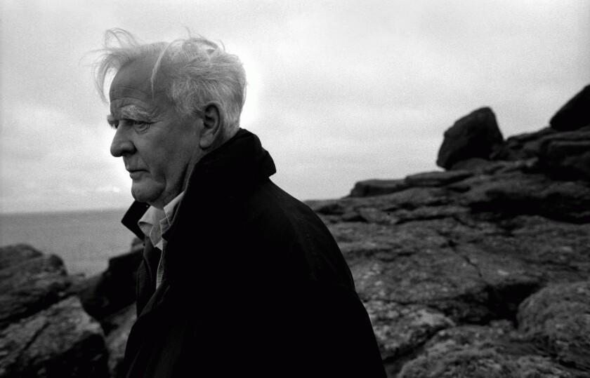 The English writer John Le Carre walking along the Cornish coastline, Cornwall, Great Britain in 2003.