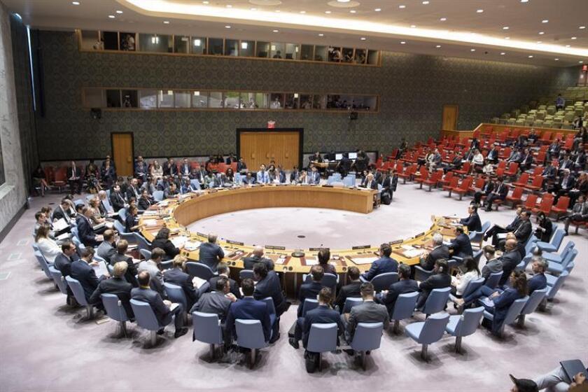 Fotografía cedida por las Naciones Unidas (ONU), del pleno del Consejo de Seguridad durante una reunión sobre la situación en Corea del Norte hoy, lunes 17 de septiembre de 2018, en la sede del organismo, en Nueva York (Estados Unidos). EFE/Evan Schneider/ONU/SOLO USO EDITORIAL/NO VENTAS