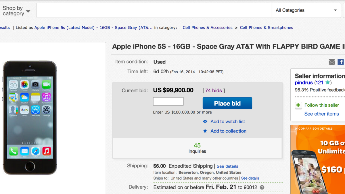 Apple iPhone with Flappy Bird selling for $99,900 on EBay