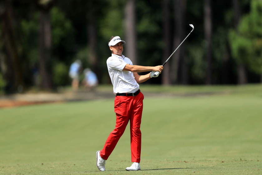 Ian Poulter plays his third shot on the 15th hole during the first round of the RBC Heritage.