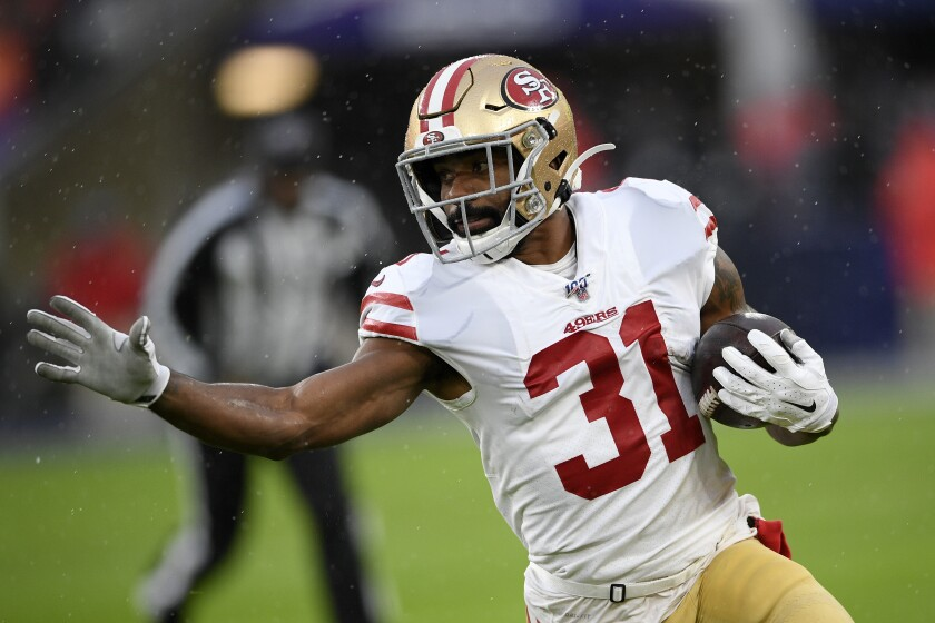 San Francisco 49ers running back Raheem Mostert (31) has become a viable option during the fantasy football playoffs with 330 total yards and four total touchdowns the last three games.