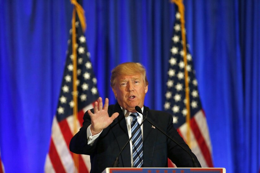 In this March 5, 2016 file photo, Republican presidential candidate Donald Trump speaks during a news conference in West Palm Beach, Fla.