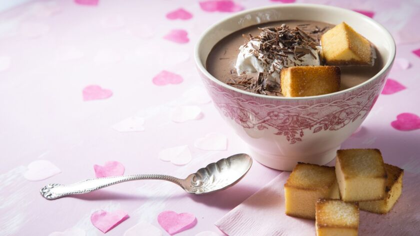 CORONADO, CA 131/2019: Jill O'Connor's Valentines Day, Hot Chocolate Soup with Pound Cake Croutons.