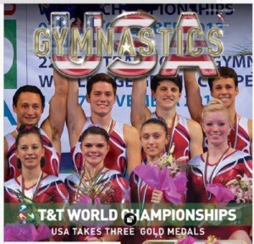 USA Gymnastics Magazine's February issue features Ramonan Ryan Roberts, back row, far right, along with his teammates after winning the gold medal at the 2013 Tumbling and Trampoline World Championships.