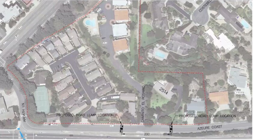 The La Jolla Traffic & Transportation Board voted to allow installation of two speed lumps along Azure Coast Drive.