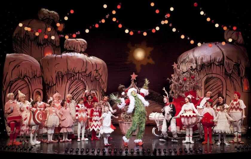 "Steve Blanchard (center) and the cast of the 2012 production of the ""Dr. Seuss' How the Grinch Stole Christmas!"" at the Old Globe Theatre. Blanchard returns for a third season in the musical's title role."