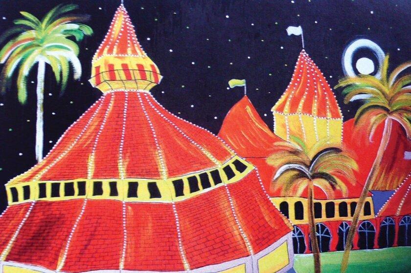 A whimsical vision of Hotel del Coronado by La Jolla artist Gabriel Rayes