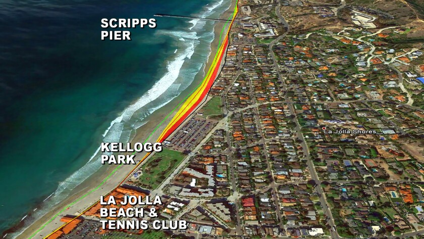 In this graphic, the green line shows the initial shoreline of the study; the red line the predicted shoreline for Jan 1, 2100; the yellow area the margin of error; and the red area the margin of error plus the cyclical winter erosion after an El Niño year.