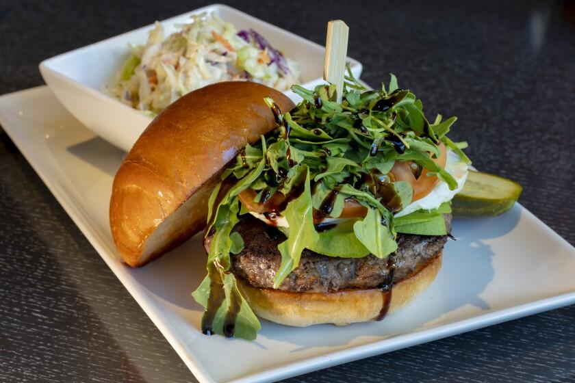 Valley View Casino & Hotel's new Patties & Pints goes local with the Rancho Santa Fe burger, with heirloom tomatoes, fresh mozzarella, avocado, basil and arugula on a brioche bun