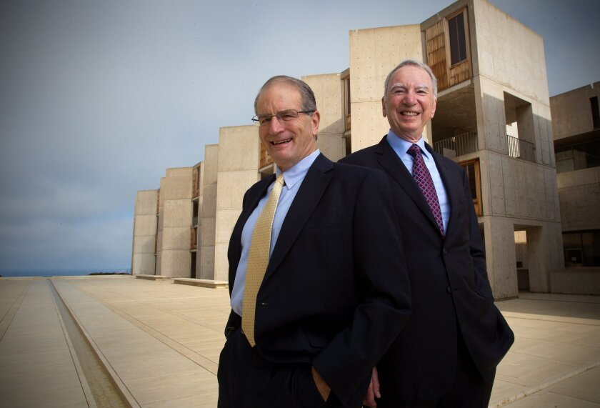 Left, William Brody, president of the Salk Institute, with Irwin Jacobs, chair of the Salk's board of trustees.