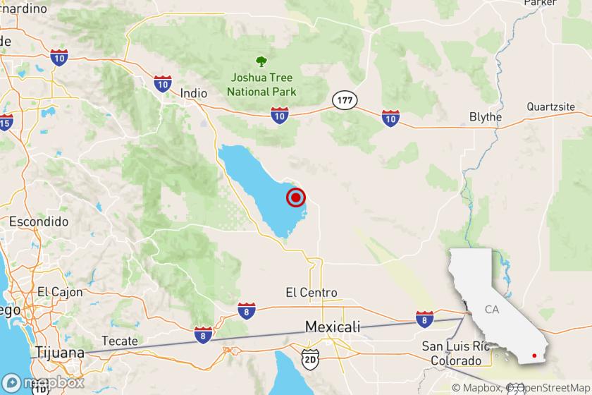 Earthquake map shows the site of the Aug. 10 4.6 Brawley earthquake.