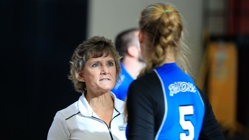 SAN DIEGO, CA Sept. 14th, 2016 | Ramona High School girls volleyball head coach Connie Halfaker work