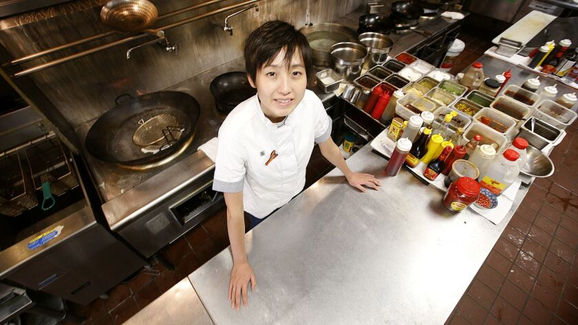 Tiantian Qiu, the chef at Hip Hot, a Sichuan restaurant in Monterey Park.