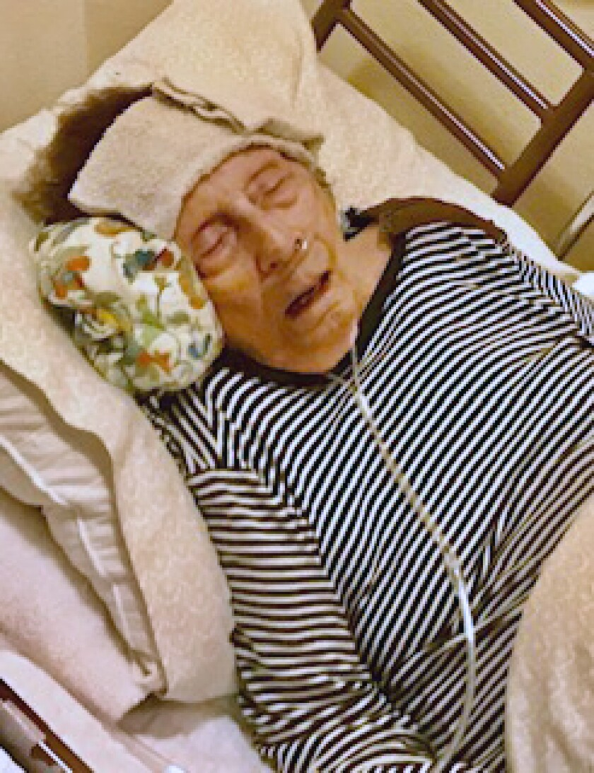 Marjorie Waggoner, 98, in a photo taken at a San Jose assisted living facility the day before she died