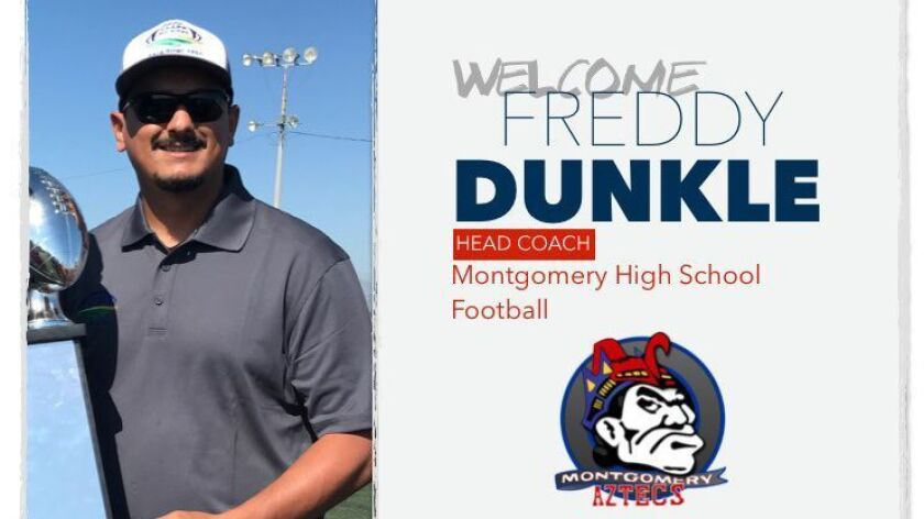 Freddy Dunkle is saluted on the Montgomery High School website.