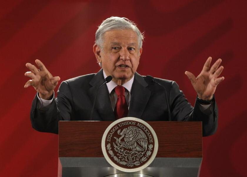 President Andres Manuel Lopez Obrador speaks during his daily press conference in Mexico City, Mexico, on March 5, 2019. EPA-EFE/Mario Guzman