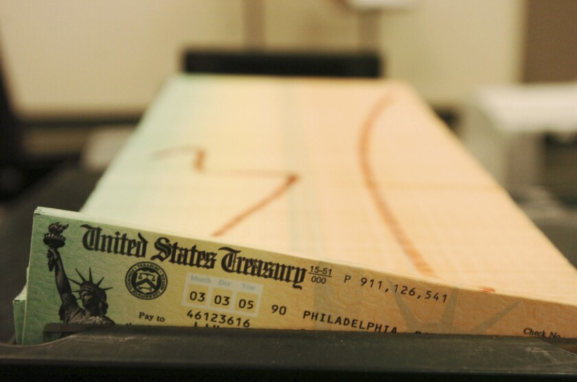 Social Security checks await mailing from the U.S. Treasury's Financial Management services facility in Philadelphia in 2005.