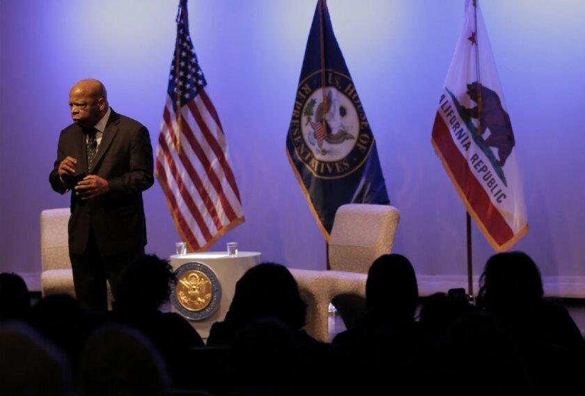 Civil rights icon Rep. John Lewis (D-Ga.) speaks inside the Student Union Theatre