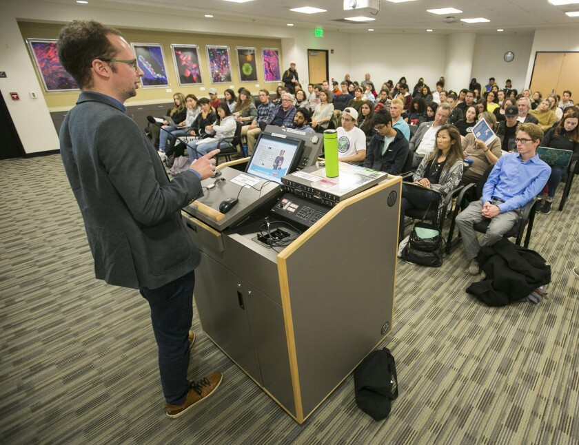Armin Langer spoke to a standing room only crowd at the Gold Auditorium at San Diego State on Tuesday, April 30, 2019 in San Diego, California.
