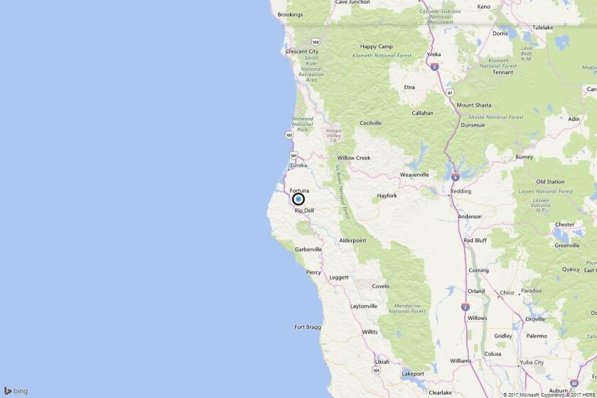 A map shows the approximate location of the epicenter of Friday afternoon's quake near Carlotta, Calif.