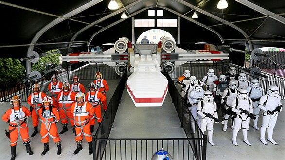 The full-size Star Wars X-Wing replica on display at Legoland California weighs more than 45,000 pounds and was created from five million LEGO bricks.