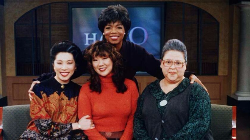 """Amy Hill with her """"All-American Girl"""" co-stars, Jodi Long and Margaret Cho, visit """"Oprah"""" in 1995."""