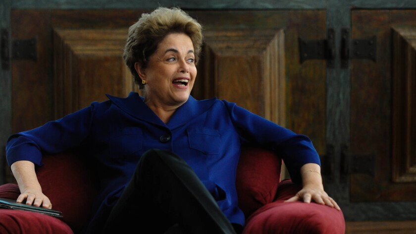 Dilma Rousseff, the suspended president of Brazil, laughs during an interview in the presidential residence.