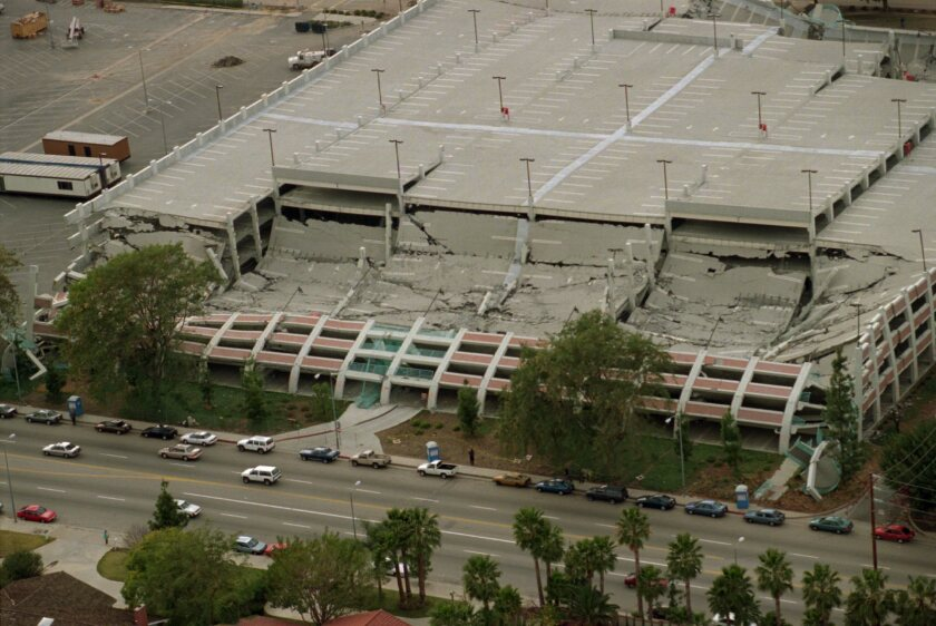 Aerial view of the Cal State Northridge parking structure destroyed in the 1994 Northridge earthquake.