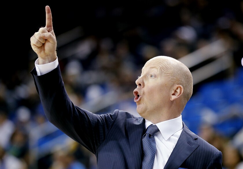 UCLA coach Mick Cronin yells instructions to his team during a game against Hofstra on Nov. 21 at Pauley Pavilion.