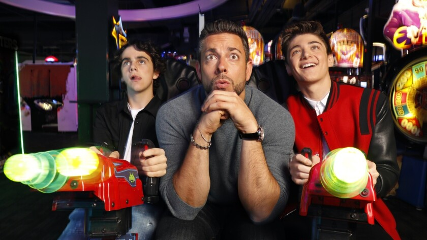 LOS ANGELES, CALIFORNIA--MARCH 22, 2019--Jack Dylan Grazer, Zachary Levi, and Asher Angel star in th