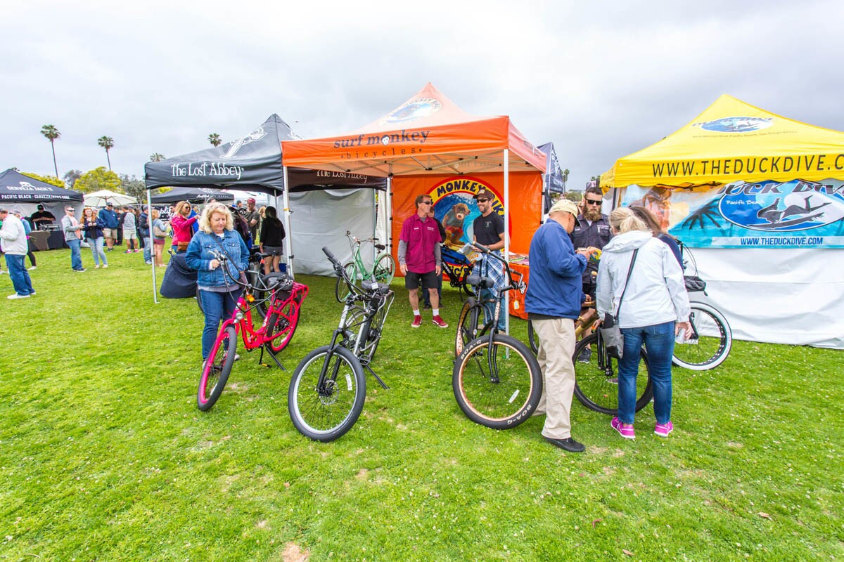 It was an alliterative day of fun at the 8th annual Bikes, Boards and Brews, which brought together together craft breweries, food and all things beachy (surf boards, cruisers and beach-inspired art) on May 6, 2017 in Pacific Beach. (Bradley Schweit)